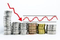 Las divisas representan tendencia bajista roja de la flecha gráficamente Fotografía de archivo libre de regalías