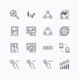 Las divisas vector los iconos planos fijados del comercio en línea de las finanzas del negocio Foto de archivo libre de regalías