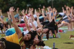 Las docenas de gente hacen actitud del triángulo en la clase al aire libre de la yoga Imagenes de archivo