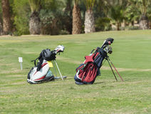 Las dos bolsas de golf en un espacio abierto Foto de archivo