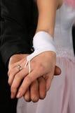 Las dos manos con los anillos de bodas Foto de archivo libre de regalías