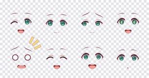 Las emociones ponen verde ojos de las muchachas del manga del animado libre illustration
