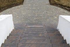 Las escaleras abajo Imagen de archivo libre de regalías