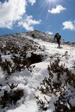 Las escaleras al cielo, paseo al pico de Mynd largo, turismo, gente en pista de senderismo nevosa, brillan del sol, colinas de Sh Imágenes de archivo libres de regalías