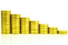 Las escaleras del dinero que aumentan columnas de las monedas, paso de la moneda de las pilas son fotografía de archivo libre de regalías