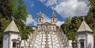 Las escaleras que llevan a Bom Jesús hacen a Monte en Braga Imagenes de archivo