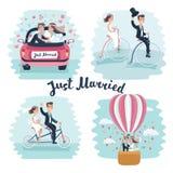 Las escenas románticas hermosas de la boda juntan besarse con las flores stock de ilustración