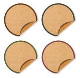 Las escrituras de la etiqueta en blanco del círculo del marrón reciclan el papel Fotos de archivo libres de regalías