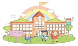 Las escuelas y los profesores y los estudiantes jovenes alinean el ejemplo del carácter libre illustration