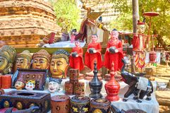 Las esculturas en el mercado en Bagan, Myanmar Foto de archivo