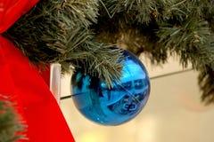 Las esferas del Año Nuevo en ramas del abeto Imagen de archivo