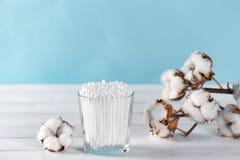 Las esponjas de algodón en tarro de cristal claro en el ajuste del cuarto de baño con un algodón florecen en fondo azul en colore imagen de archivo libre de regalías
