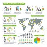 Las estadísticas de la familia vector infographics con las cartas de la población y los diagramas del demographics stock de ilustración