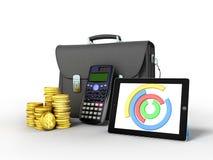 Las estadísticas de negocio diagram la cartera 3d del dinero de la tableta rinden encendido libre illustration