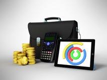 Las estadísticas de negocio diagram la cartera 3d del dinero de la tableta rinden encendido stock de ilustración