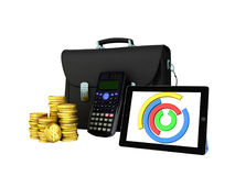 Las estadísticas de negocio diagram la cartera 3d del dinero de la tableta rinden encendido ilustración del vector