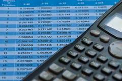 Las estadísticas presentan y calculadora Foto de archivo libre de regalías