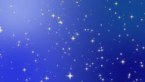 Las estrellas acecharon en un cielo azul claro en un fondo abstracto