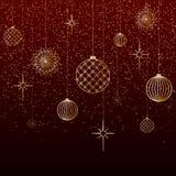 Las estrellas de los juguetes de las bolas del oro del fondo de la Navidad nievan brillo en un fondo rojo un fondo festivo por la stock de ilustración