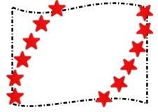 Las estrellas de mar rojas confinan el marco del verano foto de archivo