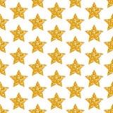 Las estrellas de oro geométricas del modelo inconsútil brillan chispeando ilustración del vector