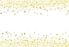 Las estrellas dispersan el celebrat de la galaxia de la bandera del marco del oro del confeti del brillo ilustración del vector