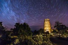 Las estrellas remontan en la torre del reloj, parque nacional de Grand Canyon Fotos de archivo libres de regalías