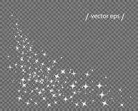 Las estrellas resumen blanco Cola del cometa Brillo monocromático de la pureza Plantilla del vector del elemento aislada en un fo libre illustration