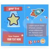 Las estrellas y el folleto de los cohetes para los niños imprimen o web con imagen de una estrella Invitación del premio, certifi Fotografía de archivo