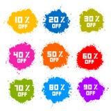 Las etiquetas coloridas del descuento, manchan, salpican Imagen de archivo libre de regalías