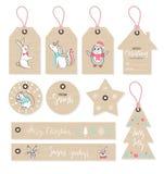 Las etiquetas de la Navidad fijaron con los animales lindos, estilo dibujado mano Ilustración del vector libre illustration