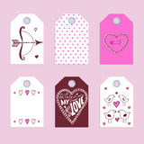 Las etiquetas de la tarjeta del día de San Valentín del bosquejo Imagen de archivo