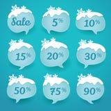 Las etiquetas de la venta del invierno en la forma de nieve del discurso burbujean Fotos de archivo libres de regalías