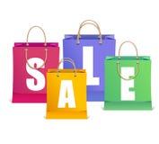 Las etiquetas de la venta del vector tienen gusto del bolso de compras Fotos de archivo libres de regalías
