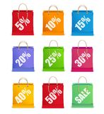 Las etiquetas de la venta del vector tienen gusto del bolso de compras Fotografía de archivo