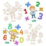 Las etiquetas de los niños lindos elegante en el movimiento con la burbuja del discurso El fichero se salva la versión AI10 EPS E libre illustration