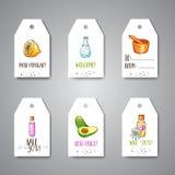 Las etiquetas del balneario y las etiquetas de la venta dan los cosméticos y los elementos exhaustos del aromatherapy Bosquejo de stock de ilustración