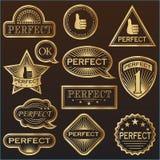 Las etiquetas del oro perfeccionan' Fotos de archivo