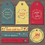 Las etiquetas del regalo de la Navidad fijaron Foto de archivo libre de regalías