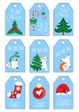 Las etiquetas del regalo de las vacaciones del Año Nuevo de la Navidad de Navidad fijaron color del azul de nueve etiquetas del r Imágenes de archivo libres de regalías