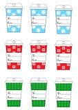 Las etiquetas del regalo de las vacaciones del Año Nuevo de la Navidad de Navidad fijaron la taza de café de nueve etiquetas del  Imagen de archivo