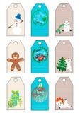 Las etiquetas del regalo de las vacaciones del Año Nuevo de la Navidad de Navidad fijaron nueve etiquetas del regalo Imágenes de archivo libres de regalías