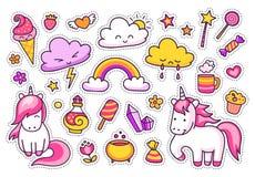 Las etiquetas engomadas frescas fijaron de los personajes de dibujos animados, nubes, arco iris, elementos mágicos libre illustration