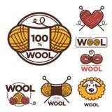 Las etiquetas o el logotipo de las lanas para la materia textil natural de 100 del por ciento puro lanas de las ovejas marca con  Imagen de archivo