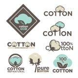 Las etiquetas o el logotipo del algodón para la materia textil de algodón natural pura del 100 por ciento marca con etiqueta Imágenes de archivo libres de regalías
