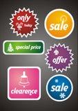 Las etiquetas y las etiquetas engomadas coloridas de la venta del invierno fijaron Fotografía de archivo libre de regalías