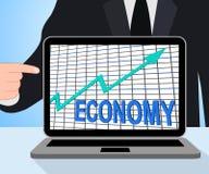Las exhibiciones de la carta del gráfico de la economía aumentan crecimiento fiscal económico ilustración del vector