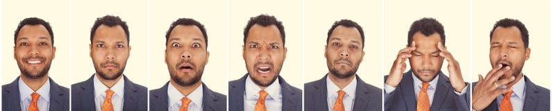 Las expresiones del hombre de negocios fotos de archivo libres de regalías