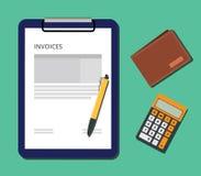 Las facturas documentan con la calculadora del tablero y el bolígrafo de la cartera Imagen de archivo libre de regalías