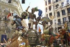 Las Fallas, papermache modele wystawiający podczas tradycyjnego świętowania w pochwale dla St Joseph Marzec 15, 2018 w Walencja,  Zdjęcia Royalty Free